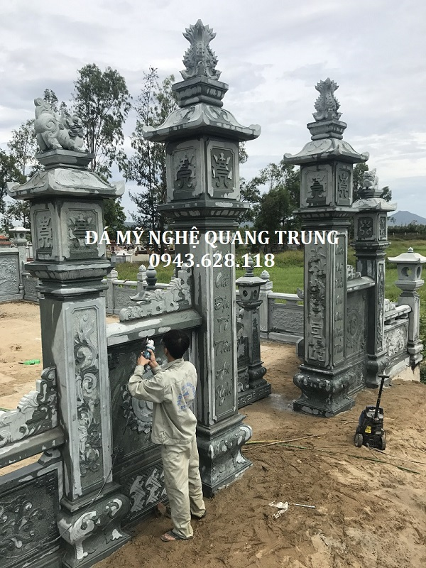 Xây dựng Cột đá, Cổng đá xanh rêu cao cấp cho Lăng Mộ, Đình, Chùa, Miếu thờ, Từ đường, Nhà thờ họ