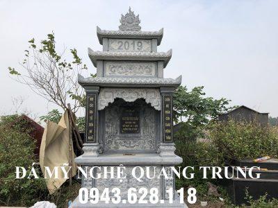 Xây Mộ đá ba mái đẹp tựa Lăng thờ đá xanh tại Ninh Bình