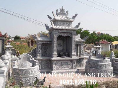Xây Lăng mộ đá tròn – Mẫu mộ đá tròn đẹp, tam cấp tựa ngai tại Ninh Bình