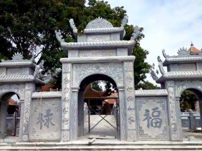 Xây Cổng đá Tam quan ba mái đẹp cho Nhà Chùa tại Ninh Bình