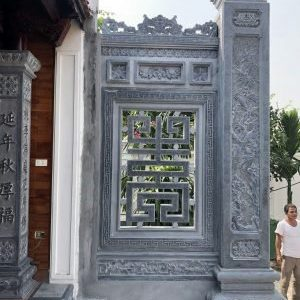 Xây Cột vách đá Nhà thờ họ – Cột đồng trụ đá xanh nguyên khối tại Ninh Bình